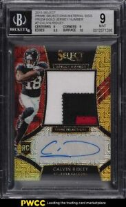 2018 Select Prime Selection Prizm Gold Calvin Ridley ROOKIE PATCH AUTO /10 BGS 9