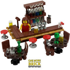 LEGO Pub - Drinking Bar with Barmaid, drinks, wine and beer glasses.