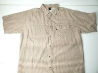 The North Face Mens Short Sleeve Tan Orange Button Shirt Zip Pocket Size XL