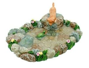 Pond Friends Pond w Dog and Turtle  MG 392 Miniature Fairy Garden