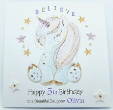 Personalised Unicorn Birthday Card Daughter Granddaughter Niece  Any Age
