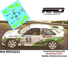 DECAL/CALCA 1/43; Ford Escort Cosworth; Nicomedes Perez; Subida Barlovento 2004