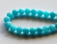 50pcs 8mm Round Gemstone Beads - Malaysian Jade - Opaque Bright Aqua