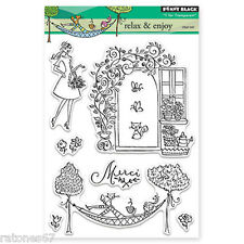 New Penny Black RELAX & ENJOY Clear Stamps Garden Girl Kitty Trellis Flowers