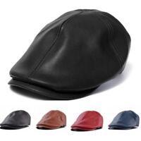 Men Male Leather Ivy Flats Baker Newsboy Cap Gatsby Golf Hat Driver Beret Cabbie