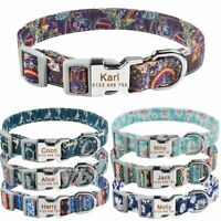 Personalized Dog Collar Nylon Free Engraved ID Name on Buckle Puppy Small Medium