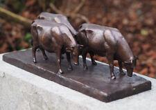 Bronzeskulptur 3 Stiere auf Platte Bulle Gartenfigur Dekoration