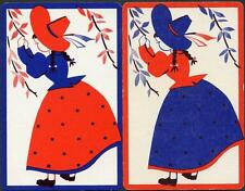 VINTAGE PAIR OF SWAP CARDS IN EXCELLENT CONDITIION BLUE AND RED GIRL