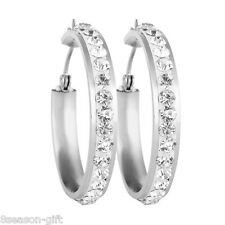 HX 1Pair women's fashion silver hoop earrings with shiny cz stones