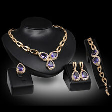 new purple elegant zircon Gold Plated Necklace Earring Bracelet Ring Jewelry Set