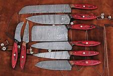 Hand made damascus steel blade kitchen knife 8 PCS set with leather pouch