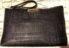 Steve Madden Black Monogram Large Cosmetic Weekend Travel Pouch Wristlet NWT
