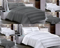 GREY STRIP BEDDING WHITE KING SIZE DOUBLE DUVET QUILT COVER SET PILLOWCASE NEW