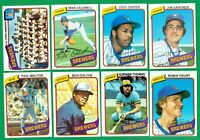 1980 TOPPS MILWAUKEE BREWERS  TEAM SET NM/MT  YOUNT  MOLITOR  COOPER  nice cards
