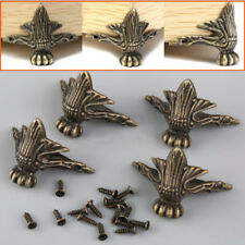 4pcs Antique Brass Jewelry Wood Box Feet Leg Corner Protector Furniture Decors