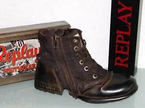 REPLAY Glattleder-Stiefelette Boots Stiefel Leder Canvas - CLUTCH Brown - Neu !