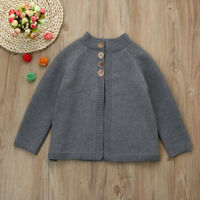 Toddler Kids Baby Girls Outfit Clothes Woolen Knitted Sweater Cardigan Coat Tops