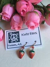 Silvertone Strawberry 2 sided Flat Fruit Red with Green Stem Dangle Earrings