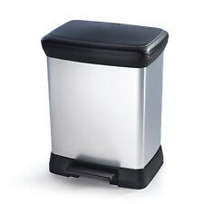 Metalloptik Abfalleimer Mülleimer 5/30 Liter Treteimer Behälter Box Curver NEU
