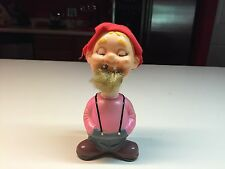 Old Vtg ALPS TRADEMARK Windup Fisherman Man W/Pipe Japan Pink Shirt Red Hat
