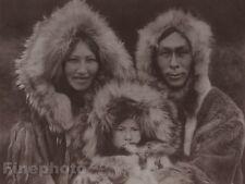 c1900/72 Photo Gravure ESKIMO NOATAK Family Child Winter Art EDWARD CURTIS 11x14