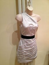 LIPSY Stunning Silver Grey Satin Silky One Shoulder Pleated Dress Size 8