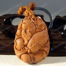 Classical Wooden Carving Lucky Fish Key Chain Keyring (Mascot) A881