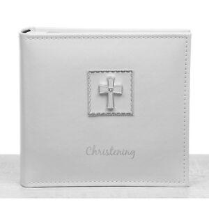 "Christening Photo Album with Cross Motif Photos Size 6x4""   Gift Idea"
