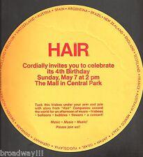 "Fourth Birthday ""HAIR"" Central Park Celebration 1972 ""Frisbee"" Invitation"