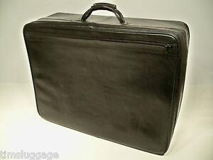 "Hartmann Luggage Black Belting Leather 26"" Soft Pullman Suitcase"