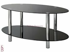 Hygena Matrix Oval Coffee Table - Black Glass - BNIP