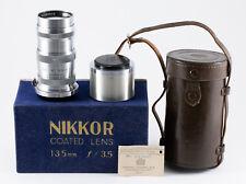 (52) Nikon Nikkor-Q 135/3.5 lens Nikon S w/caps hood insp.certificate case & box