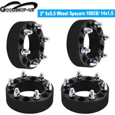 "(4) 2"" 6Lug Wheel Spacers 6x5.5 For Chevy Adapters Silverado 1500 Tahoe Suburban"