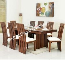 KraftNDecor Wooden Dining Set with 1 Table & 8 Chairs in Brown Colour