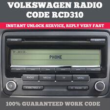 VOLKSWAGEN RADIO RCD 310 UNLOCK CODE