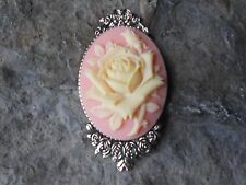 GORGEOUS PALE YELLOW ROSE CAMEO BROOCH- PIN- (PEACH) - FLORAL, ROSE BUD