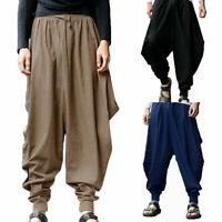 Mens Harem Pants Grey Hippie Yoga Plain Aladdin Martial Loose Baggy Trousers #CA
