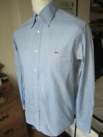 MEN'S LACOSTE L/S SHIRT  38 chest  M summer Devanlay blue checked casuals  top