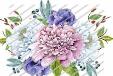 Shabby Soft Watercolor Floral Flower Swag Bouquet Waterslide Decals Fl443