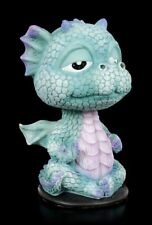 Blauer Drache - Wackelkopf Figur - Fantasy lustiger Drache Deko