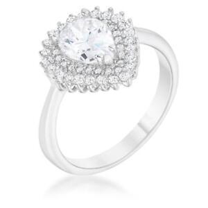1.65 TCW CZ Vintage Halo Pear Round Cut Bridal Engagement Wedding Ring Size 9