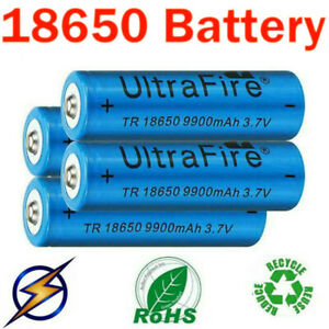 4pcs Batteries 3.7V Rechargeable Li-ion Battery+T6 Zoom Flashlight Torch