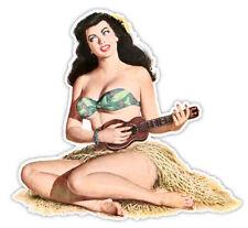 "Pin-up art retro sexy pin up pinup girl playing guitar sticker decal 4"" x 4"""