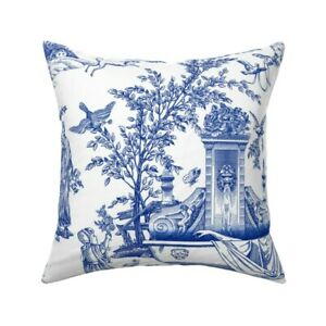 Eclectic Toile Blue White Asian Throw Pillow Cover w Optional Insert by Roostery
