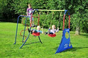Neuheit: Hudora Spielplatz 64019 für bis zu 4 Kinder Schaukel Klettergerüst