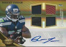 2012 12 Certified Freshman Fabric Robert Turbin AUTO #/25 Jersey Football Utah