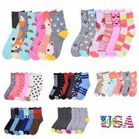 6 12 Pairs Lot Kids Crew Ankle Socks Toddler Boy Girl Fashion 0-12 2-3 4-6 6-8
