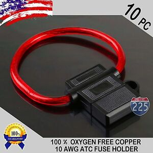 10 Pack 10 Gauge ATC In-Line Blade Fuse Holder 100% OFC Copper Wire Protection