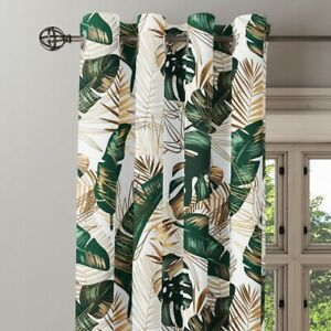 Floral Green Leaf Leaves Print Curtains 55'' x95'' 1 Pair Eyelet Ring Ready Made