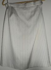 ESCADA Vintage 1990s Pencil Skirt 12 42 Straight White Ivory Gold Brocade Cotton